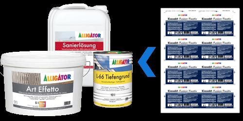Abbildung von Etiketten im Mehrfachnutzen für Farbeimer, Lackdosen und andere Verpackungstypen