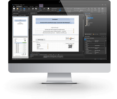 Monitorbild für FileScheduler Report in schwarzem Design der Bedienoberfläche