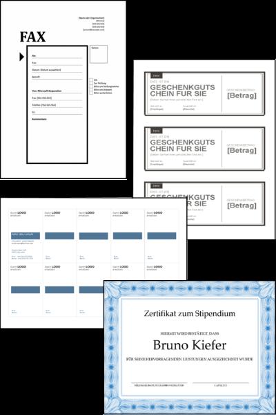 Abbildung von personalisierten Dokumenten wie Faxvorlagen, Etiketten, Visitenkarten, Zertifikate