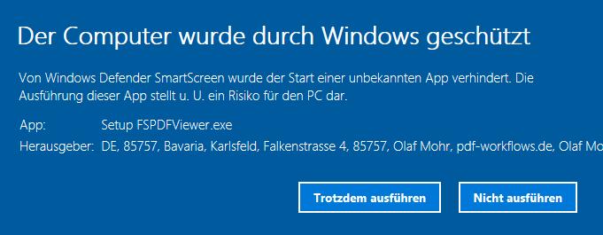 Abbildung weiterer Informationen zur Windows Sicherheitswarnung